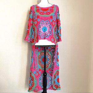 Belle France Crocheted Hi Lo Top